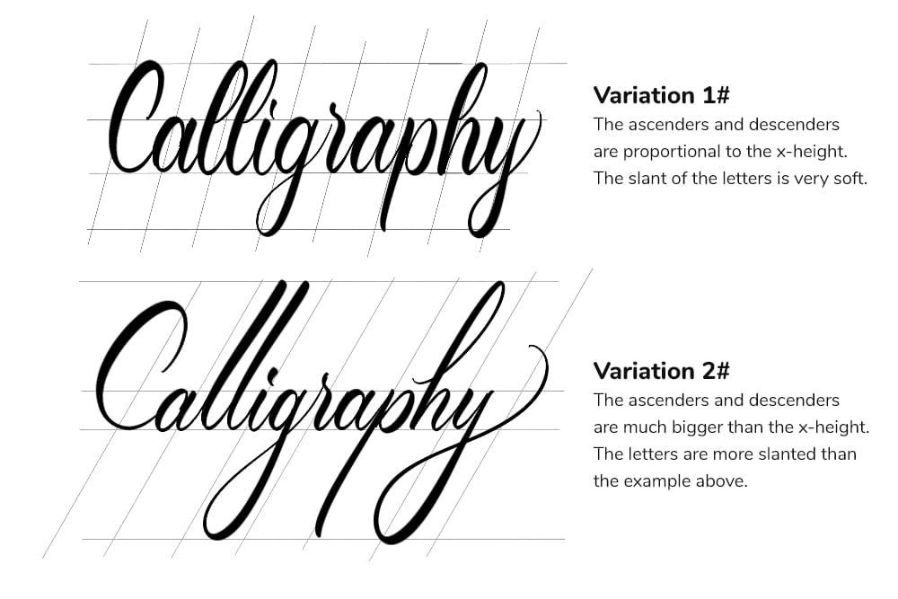 the different modern calligraphy variations you can achieve by tweaking the proportions - Lettering Daily