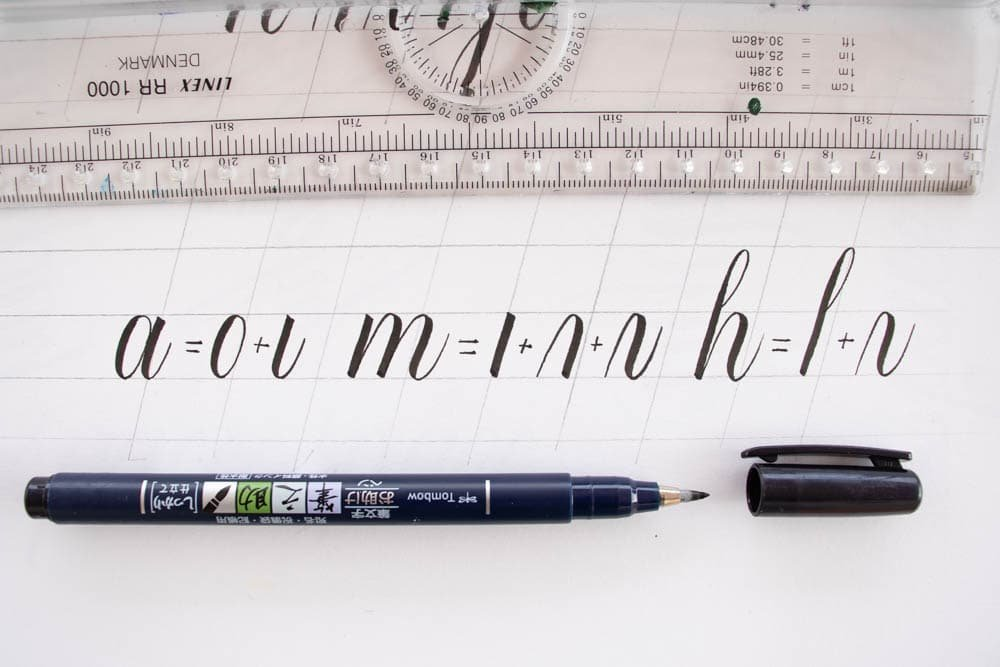 Example of how to basic strokes create different letters - Lettering Daily