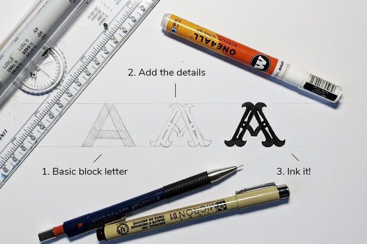How to draw a vintage letter A