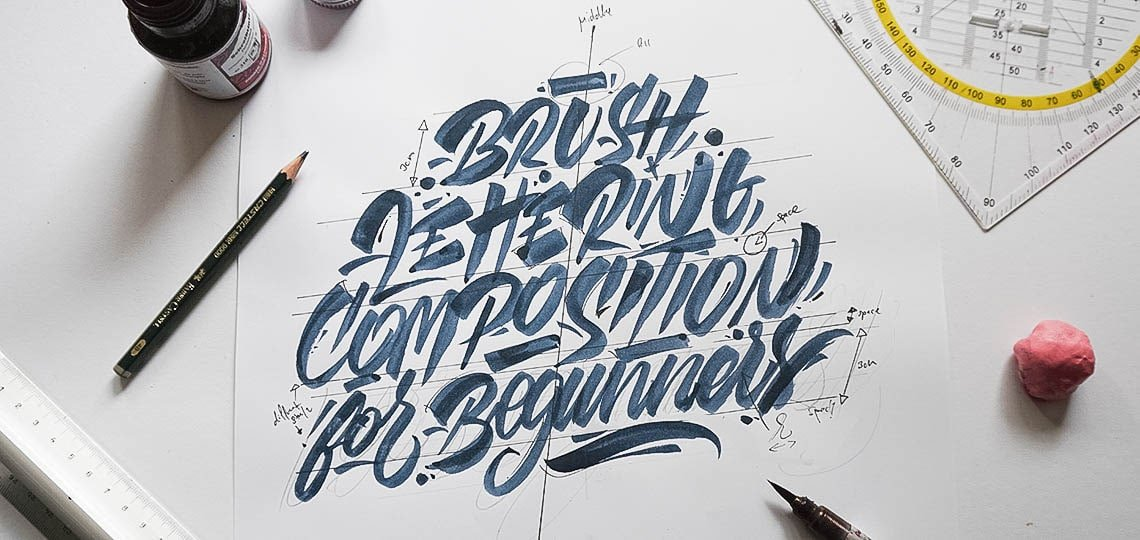 Brush lettering composition for beginners -Lettering Daily