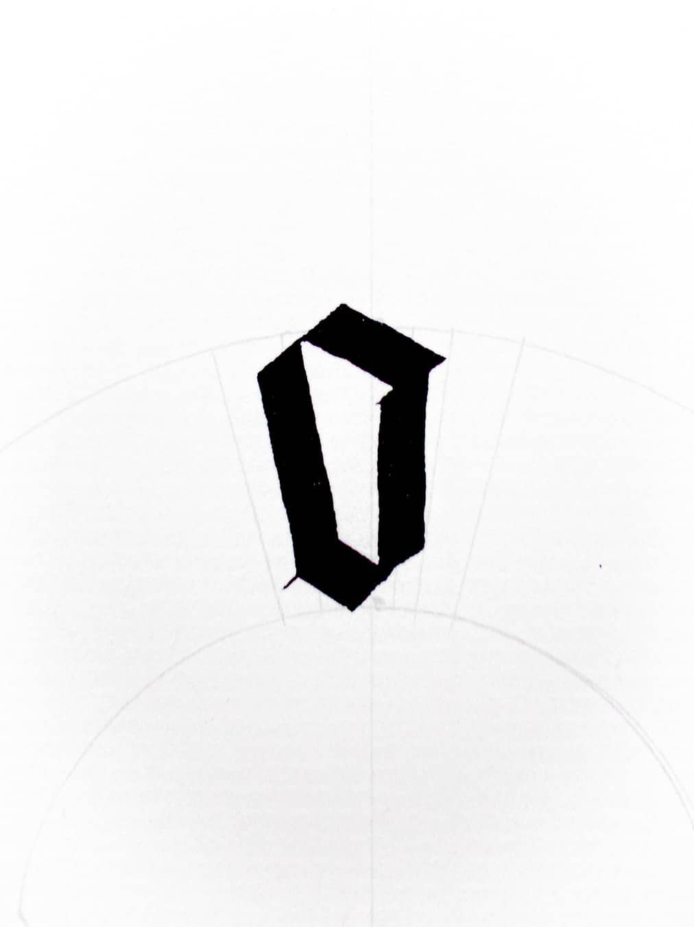tweaked letter o to make fit the circular baseline
