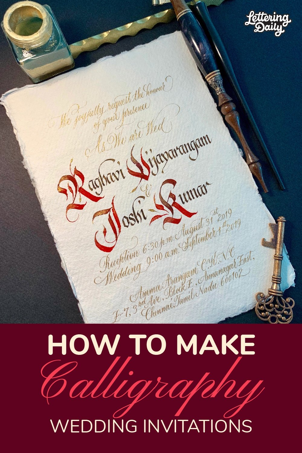 How To Make Calligraphy Wedding Invitations - Pinterest Pin - Lettering Daily-01