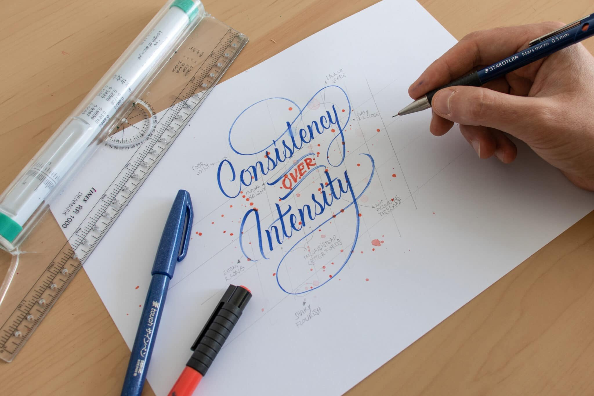 7 Brush Lettering Tips That Anyone Can Use - Lettering Daily - Reviewing and giving yourself feedback