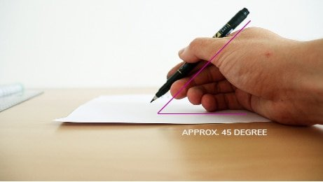 The correct angle needed for your brush pen hold.