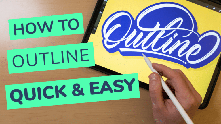 HOW TO OUTLINE LETTERING IN PROCREATE (QUICK & EASY)