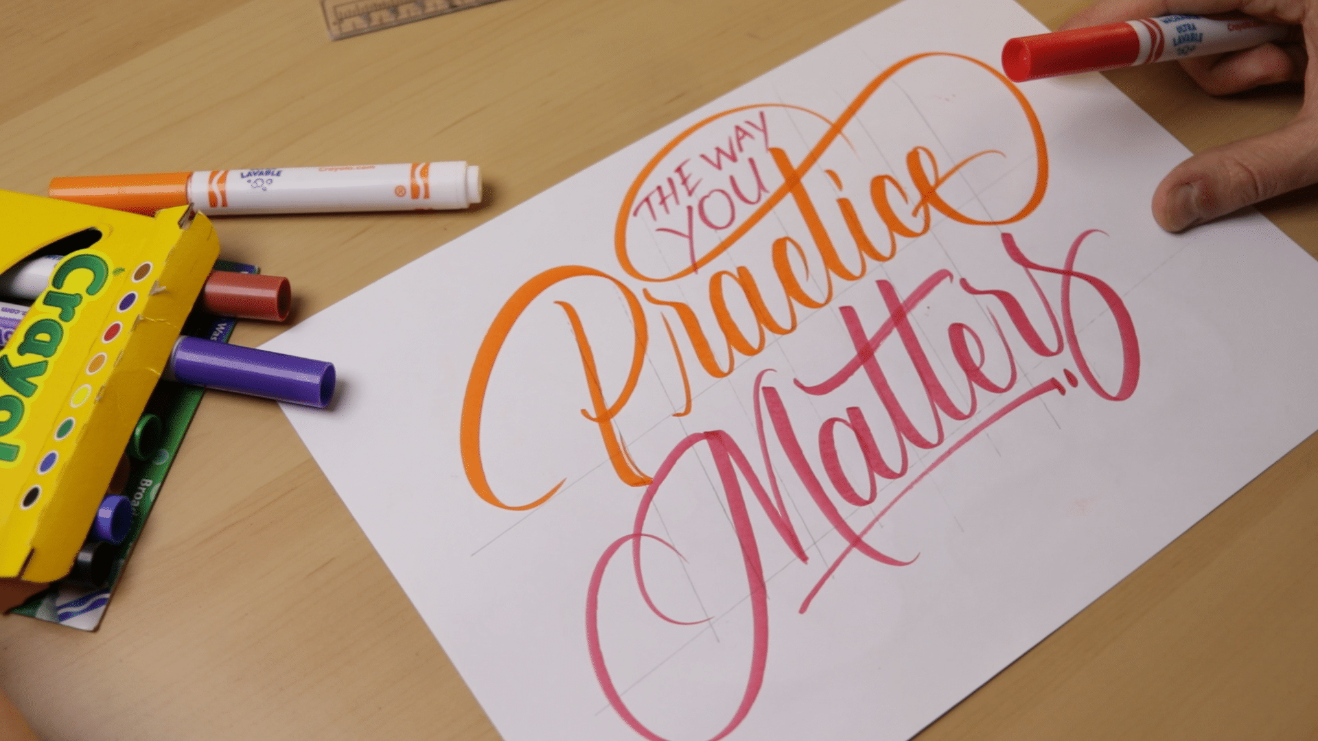 How To Do Calligraphy With Crayola Markers - Lettering Daily